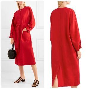 Red Embellished Cotton Poplin Dress